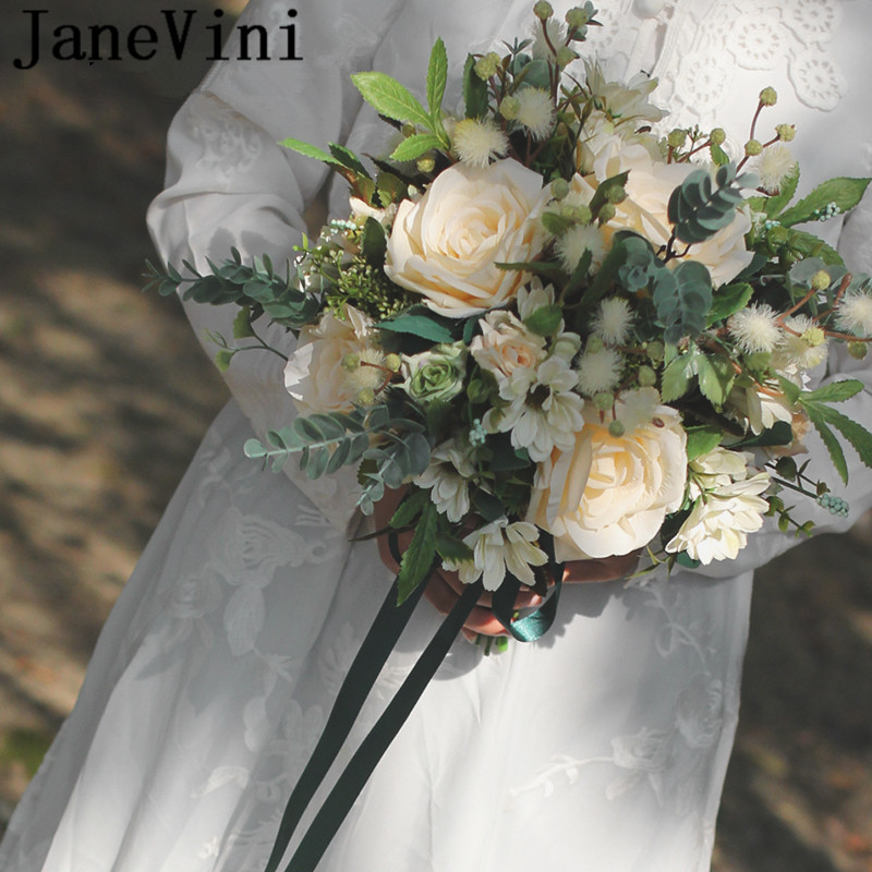 JaneVini Western Style Champagne Wedding Bouquet Rose Articielle Artificial Silk Flower Bridal Bouquet Ribbon Bride Ramo Noiva