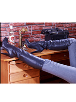 Round Toe Chunky Heel Knee High Boots Cow Leather Zipper Up Winter Women Shoes Manufacturer Stylish Designer Autumn Ladies Boots