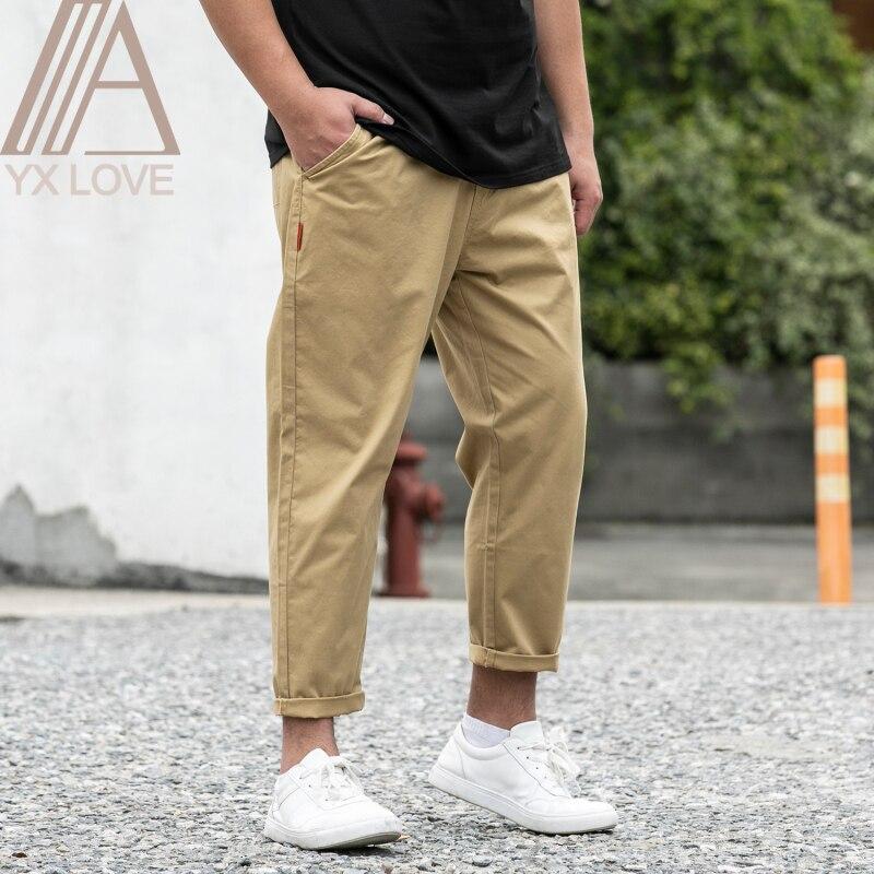 Новые брюки из 100% хлопка мужские шаровары длиной до щиколотки больших размеров 28 48 свободные удобные классические повседневные брюки|Повседневные брюки|   | АлиЭкспресс