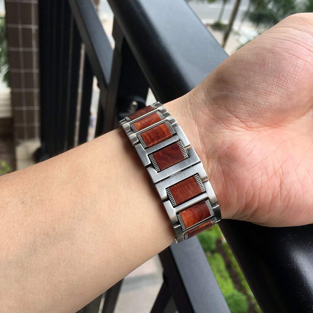 38 mm natural vermelho sândalo + aço inoxidável correa pulseira