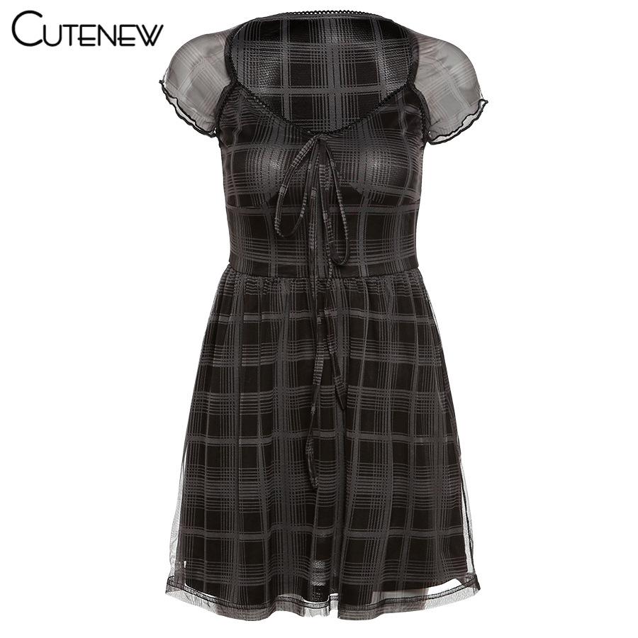 Cutenew Lattice Pattern A Line Short Sleeve Mini Dress For Womens Clothes 2021 Summer Casual Stretch Comfortable Lady Streetwear