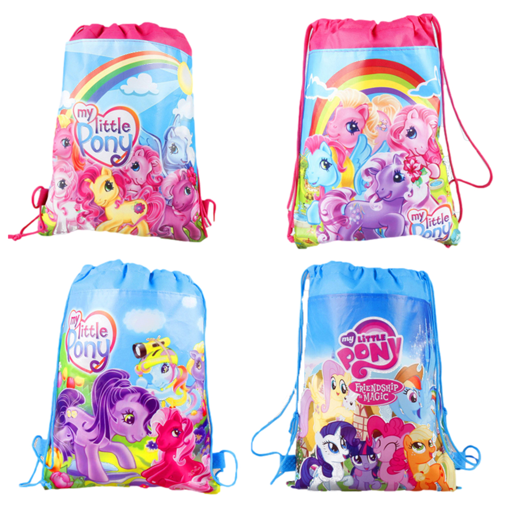 1 Pcs My Little Pony Non-woven Fabric Drawstring Backpack Party Supplies Kids Girl Travel School Bag Birthday Gift Storage Bags