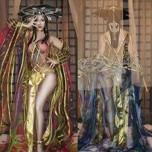 Женский певец праздничный костюм китайский стиль Сексуальная сценическая одежда для женщин Gogo танцор Rave одежда DQL2425