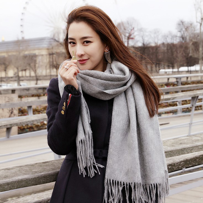 Women Cashmere Scarves 2019 Autumn Winter New Female Wool Tassels Female Scarf Wide Solid Long Shawl Wrap Blanket Warm Tippet