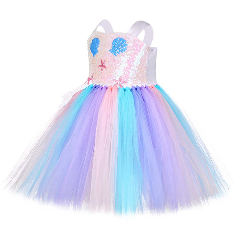 ハロウィンプリンセスガールマーメイドアリエル衣装愛らしいスウィートこどもシェルヒトデロールプレイ誕生日パーティーチュチュ休日