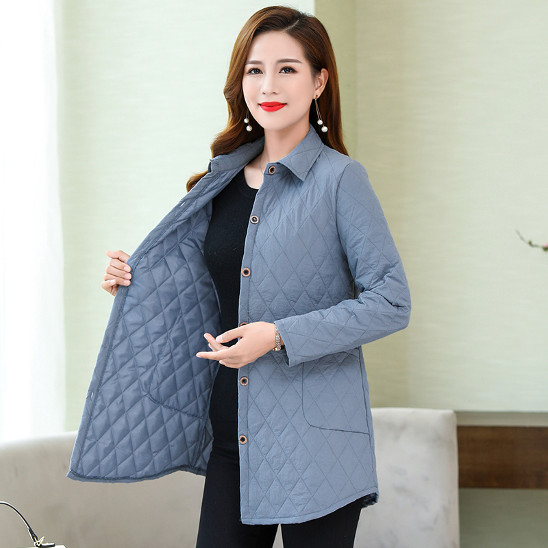 2020 Thin Quilted Jacket Autumn Winter Warm Long-sleeved Jacket Parkas Middle Age Women Cotton-padded Tops Mother Cotton Coat