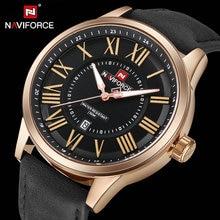NAVIFORCE Casual Sports Mens Quartz Watches Luxury Brand Blue Leather Strap Waterproof Date Clock Fashion Minimalist Wrist Watch