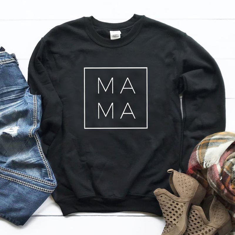 MAMA Square Print Women Sweatshirts Casual Hoodies For Lady Girl Funny Hipster Jumper Drop Ship SW-24