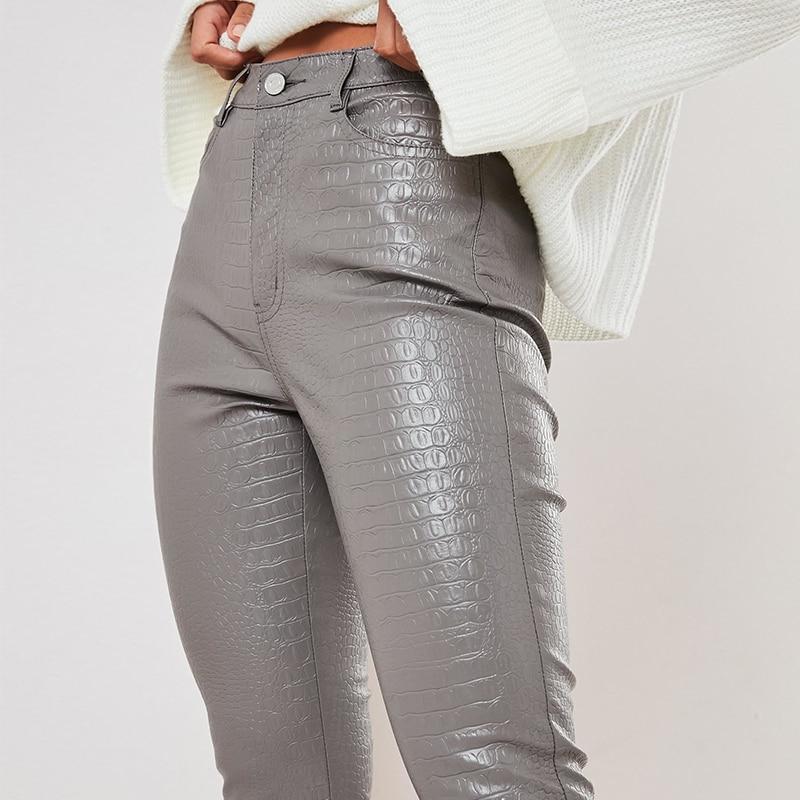 InstaHot Black High Waist Pencil Faux Leather Pants Women Casual Elegant Carving Print Ankle Length Pants Streetwear Trousers 37