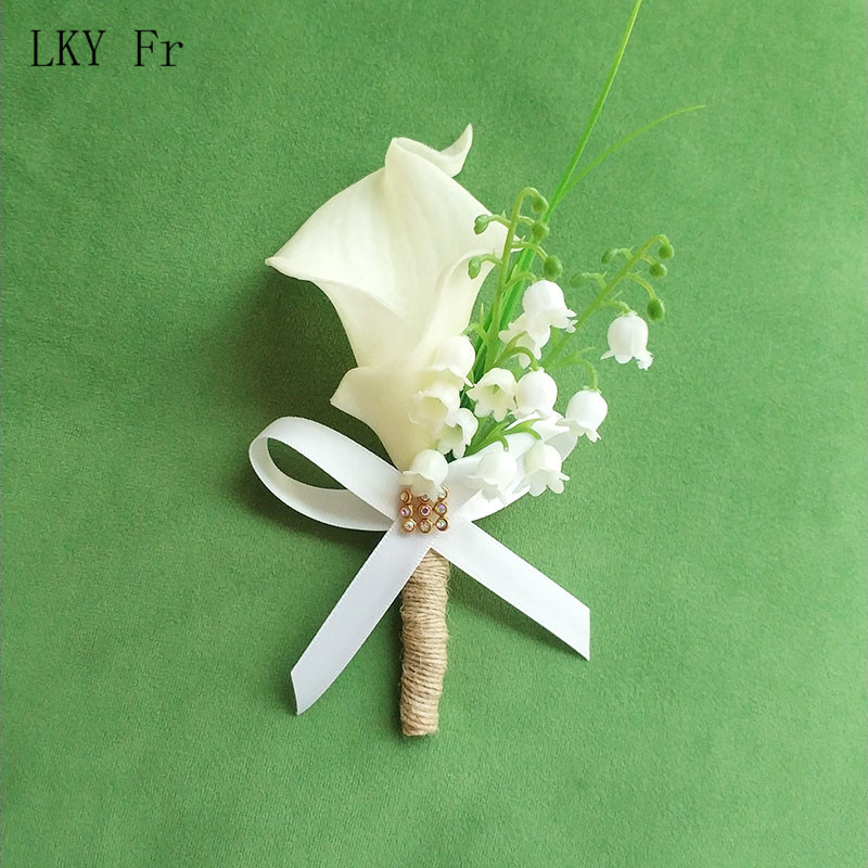 LKY Fr Boutonniere Pin Flowers Calla Lily Wedding Corsages And Boutonnieres Groom Flower Wedding Buttonhole Marriage Accessories
