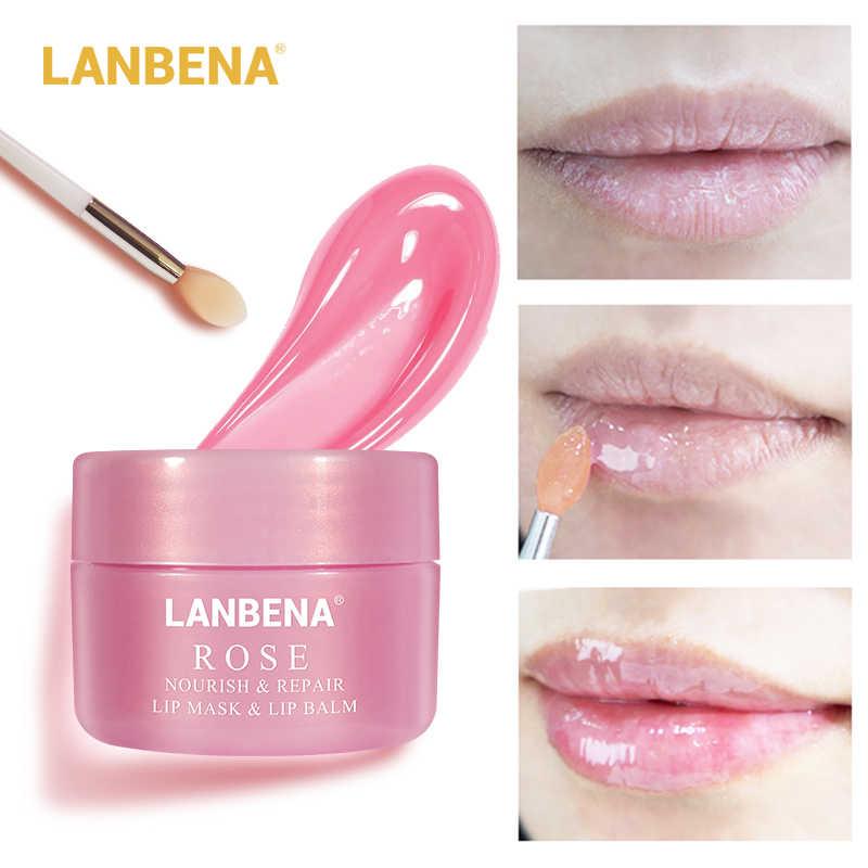 LANBENA שפתיים לשפשף שפתיים מסכת שינה מסכת שפתון שפות שמנמן פילינג להזין לחות תיקון בסדר קווי שפתיים שמן טיפול
