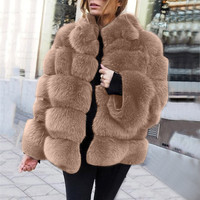 Women Plus Size Short Faux Coat Warm Furry Faux Long Sleeve Outerwear Stand Collar Faux Fur Jacket Fur gilet fourrure 9.19