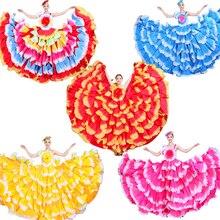 6 видов цветов платье для фламенко танцевальная Цыганская юбка для женщин Испанские костюмы для танца живота большой лепесток испанский хор сценическая одежда S-3XL