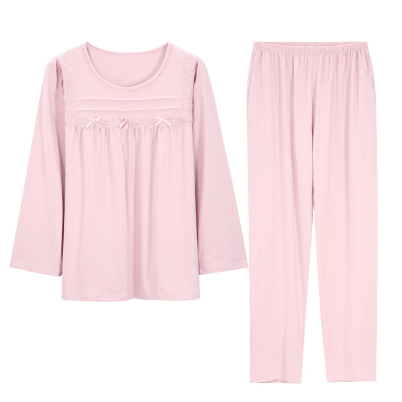 Modal Pajamas Women's Spring and Autumn Thin Long-Sleeved Loose Plus-sized Cotton Two-Piece Pink Pajamas Pyama Woman
