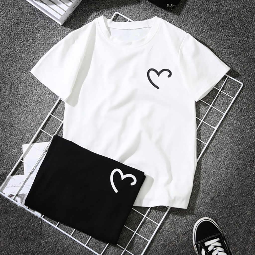 Tshirt women girls 플러스 사이즈 하트 모양의 프린트 반소매 티셔츠 탑스 haut femme camiseta mujer 탑 여성 poleras t 셔츠