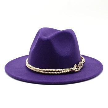 Black/white Wide Brim Simple Church Derby Top Hat Panama Solid Felt Fedoras Hat for Men Women artificial wool Blend Jazz Cap 7
