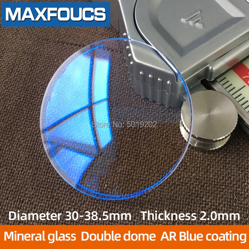 AR Blue Coating Double Dome  Thickness 2.0 Mm Diameter 30~38.5 Mm Watch Glass Mineral Glass Dome Glass  1pcs
