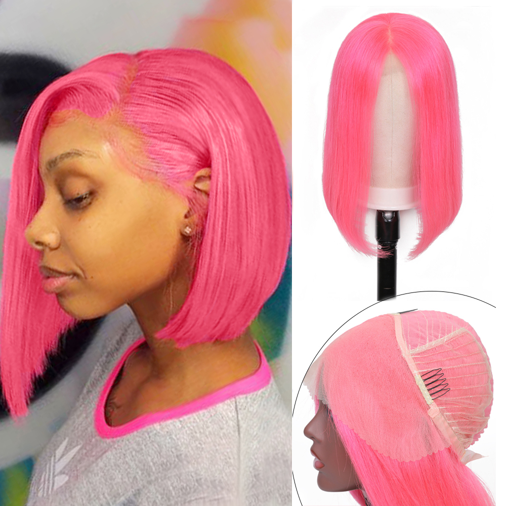 Nadula Hair 13*4 Pink Short Straight Lace Front Wig Remy Human Hair Wigs Brazilian Straight Hair Bob Lace Wigs For Black Women