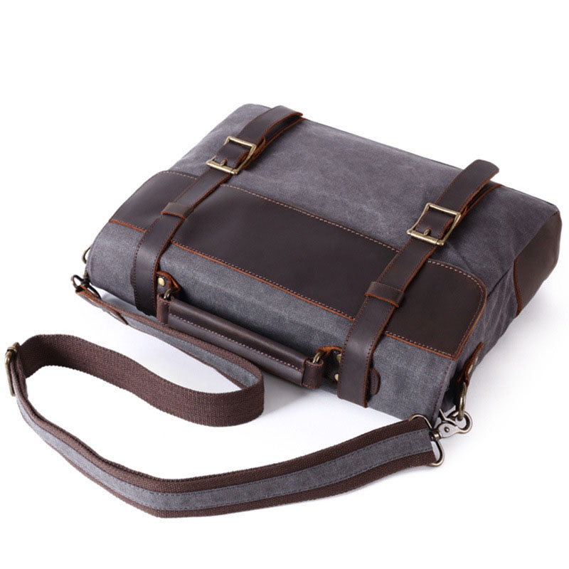 Vintage Leather Canvas Briefcase Messenger Bags Men's Briefcases Bag For Laptop Men?s Document/Business/Office Bag Computer Bag