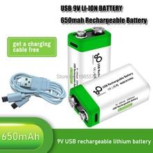 2-10 baterias recarregáveis 9 v do li-íon de 9 v 6f22 650mah usb do lítio novo dos pces para o microfone do multímetro brinca o controle remoto