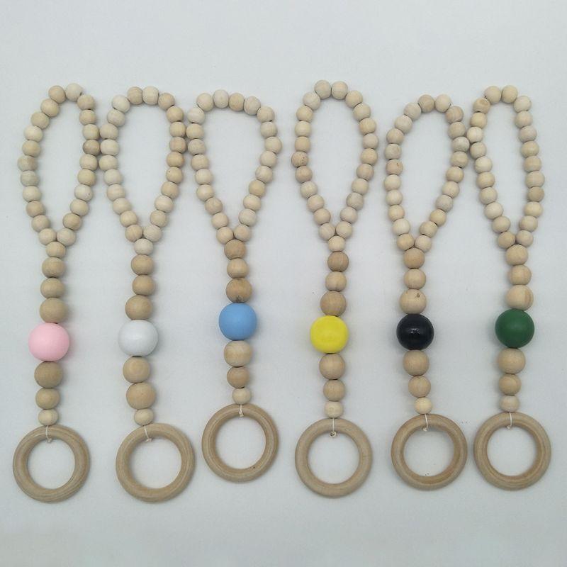 Nordic Style Baby Fitness Rack Pendant Appease String Beaded Bracelet 634F
