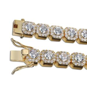 Image 4 - JINAO 1 Row Gold Silver color AAA 10mm Cubic Zirconia Paved All Iced Out Tennis Bling Lab CZ Stones Bracelet