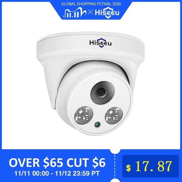 Hiseeu 2MP POE IP kamera H.265 Dome kamera 1080P gece görüş P2P hareket algılama ONVIF PoE NVR 3.6 lens App görünüm 30fps
