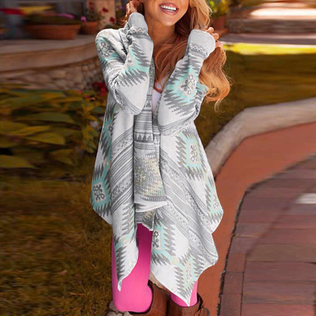 Mulheres jaqueta Cachoeira Cape Lapela Geométrica Impressão Legal Irregular Solta de Manga Comprida Casacos Casaco de Outono Outerwear Ocasional Cardigan