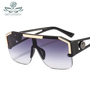 D&T 2020 New Shield Sunglasses Men Women Fashion Color Lens Alloy Frame High Quality Rectangle Brand Designer Sunglasses UV400