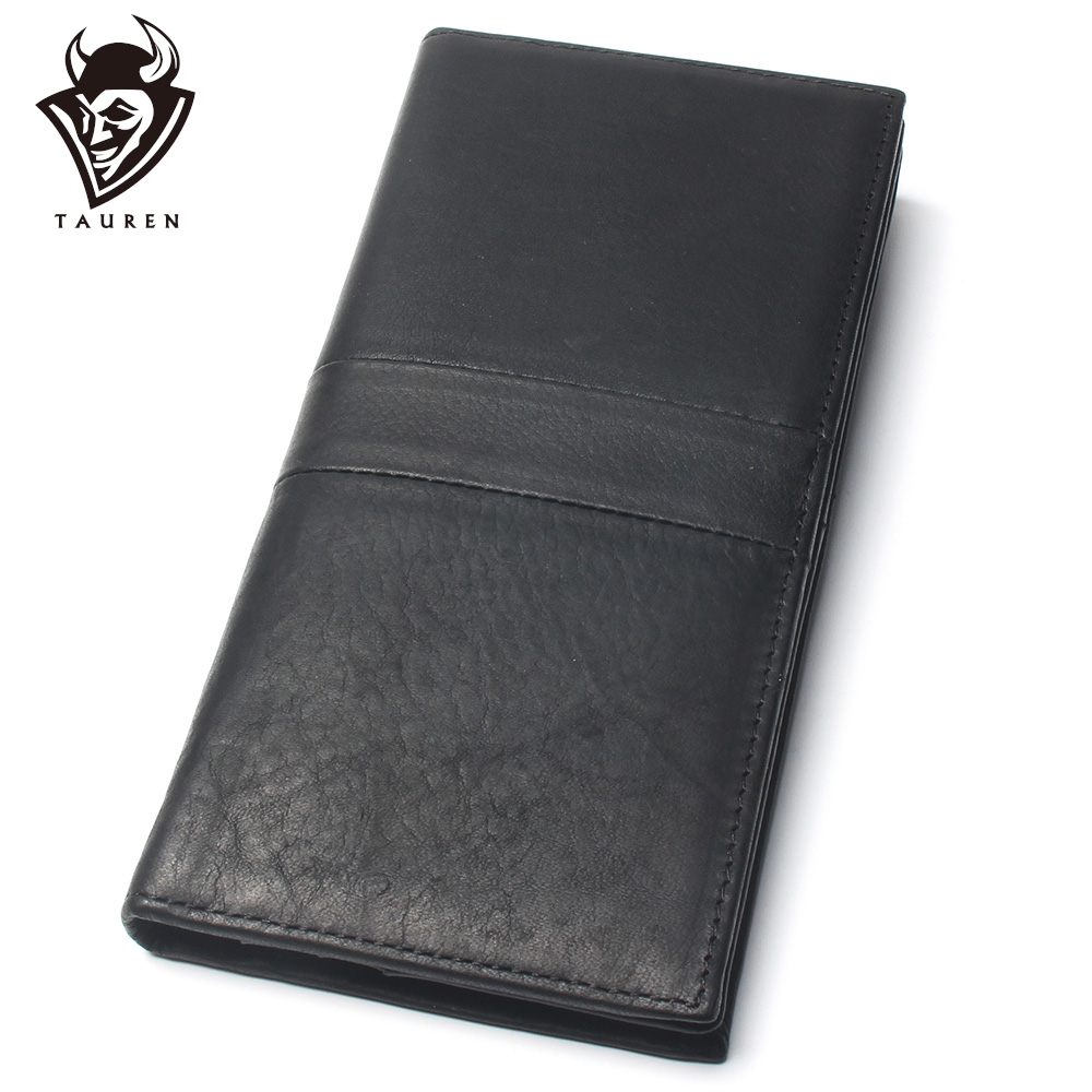 Men Black Middel Stitching Styles 100% Genuine Leather Wallet Men's Long Credit Card Travel Wallet Leather Hand Purse For Men