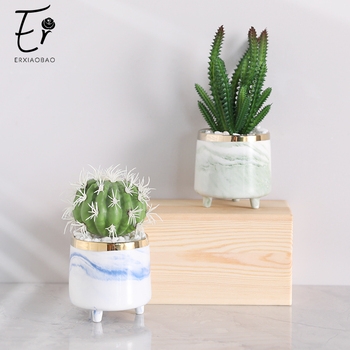 Erxiaobao Fake Cactus Artificial Plants with Pot Simulation Succulent Plants Fleshy Small Potted Living Room Table Decoration