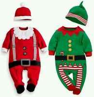Novo Garoto Criança Trajes Cosplay Natal Papai Noel Natal Macacão Chapéu Conjunto Bonito Terno Do Bebê do Dia Das Bruxas Natal Disguisement