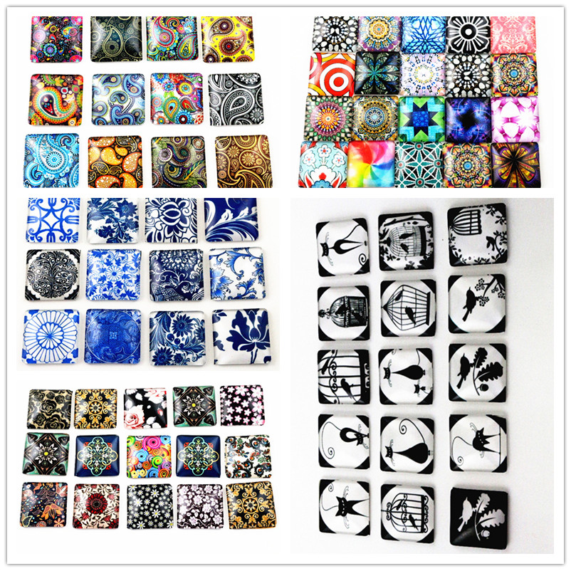 8pcs 25mm Square Style  Mixed Handmade Photo Square Glass Cabochons