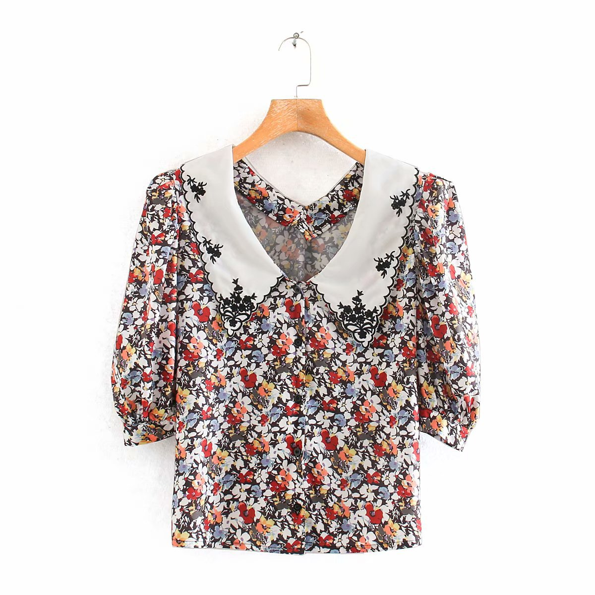 2020 Spring Summer New Floral Flower Print Zaraing Women Blouse Shirt Sheining Vadiming Female Blouse Shirt Sexy Wdd87205