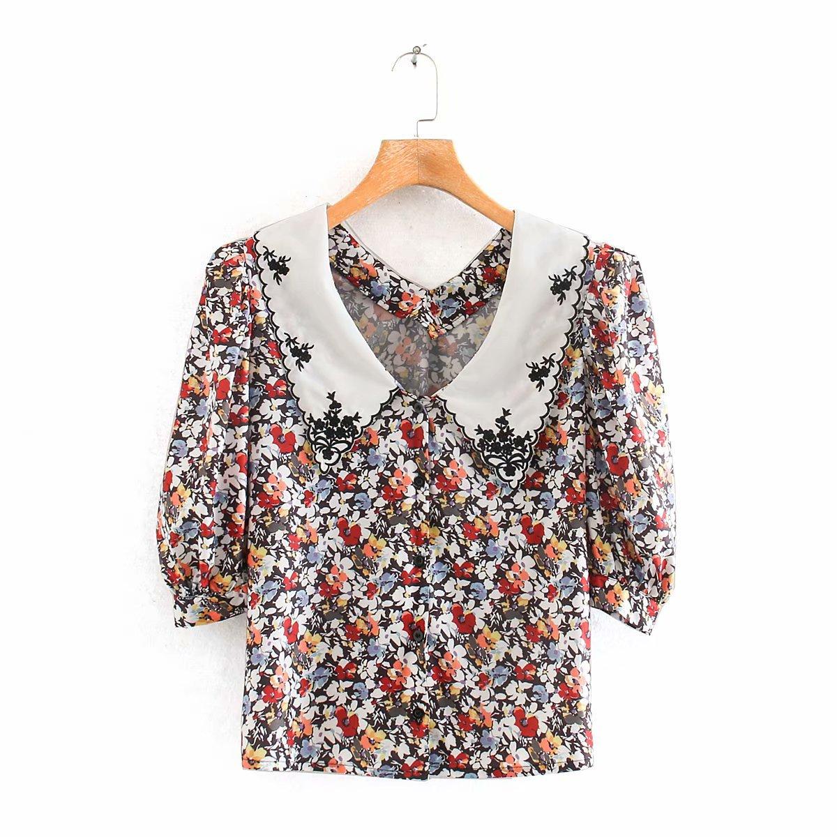 2020 Spring Summer New Floral Flower Print Zaraing Women Blouse Shirt Sheining Vadiming Female Blouse Shirt Sexy Wdd87205