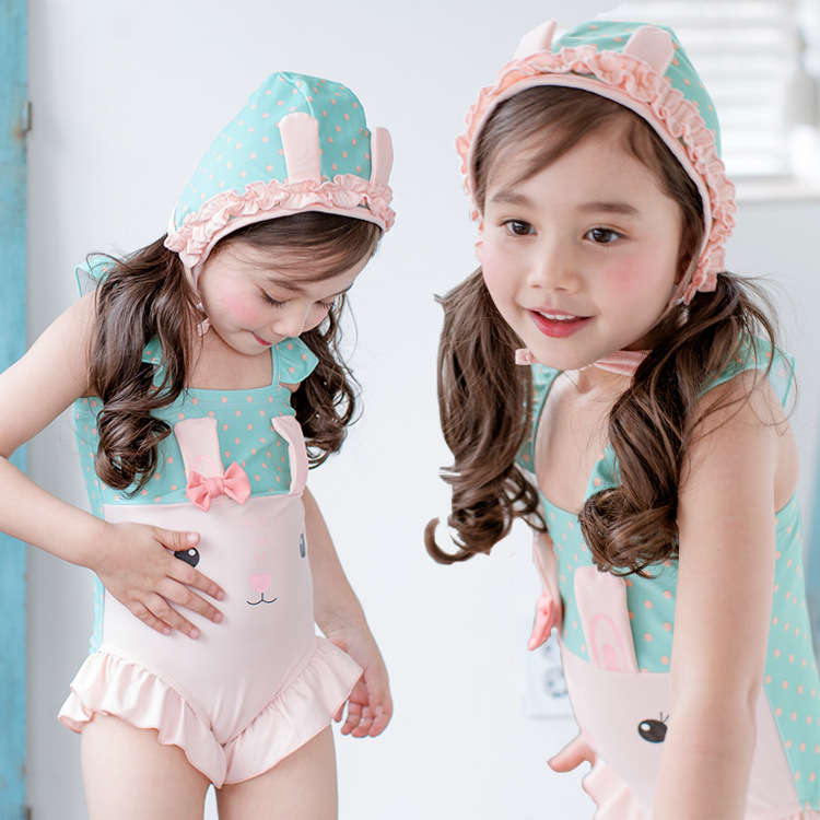 New Style Korean-style KID'S Swimwear Cartoon Rabbit With Swim Cap Children Hot Springs One-piece Girls Swimwear