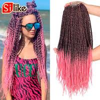 Silike sénégalais torsion 22 pouces Ombre noir rose Crotchet tresses 18 racines/paquet synthétique Crochet tressage Extensions de cheveux