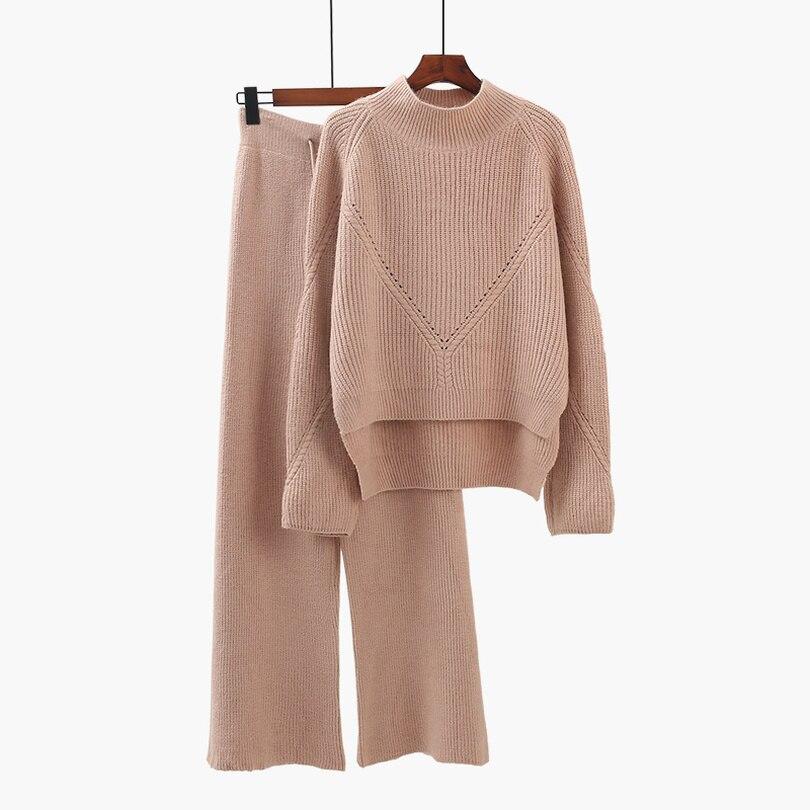 TYHRU hiver femmes pull costume demi col roulé à manches longues chandail irrégulier + tricot pantalon automne 2 pièces ensemble pull survêtement
