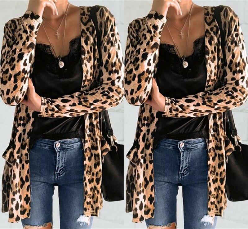 Women's Leopard Print Open Front Jacket Cardigan Blazer suit Tops Coat OL Slim Casual Long Sleeve Blazer Feminino blusa Outwear