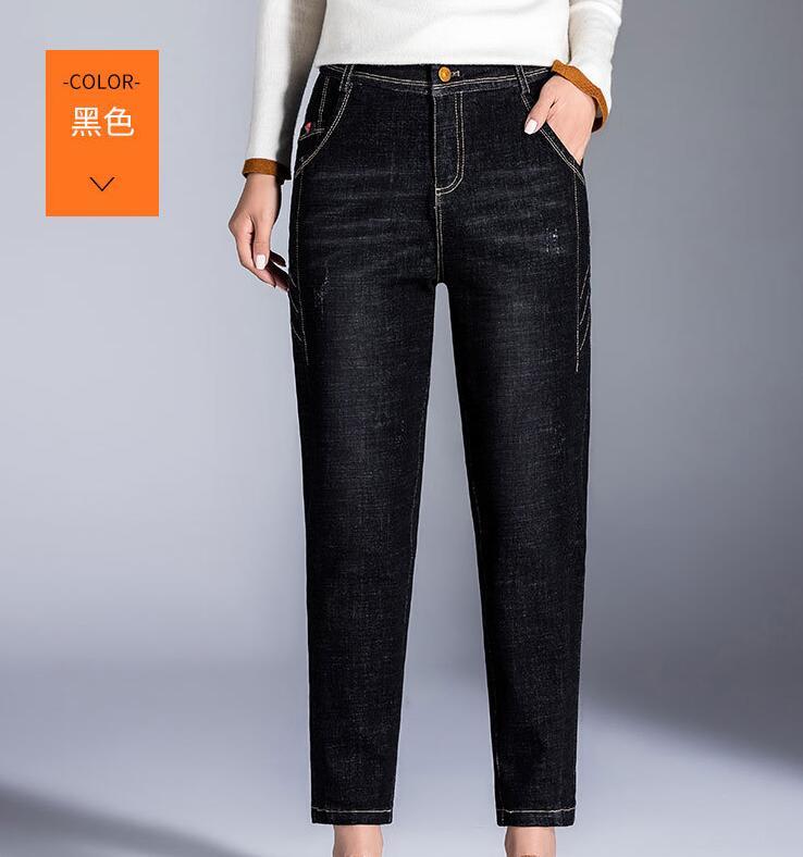 NEW 2019 Plus Velvet Jeans Women's Pants Maa1 Autumn  Nine Points Pants Wear Large Size Middle-aged KJ15K-14