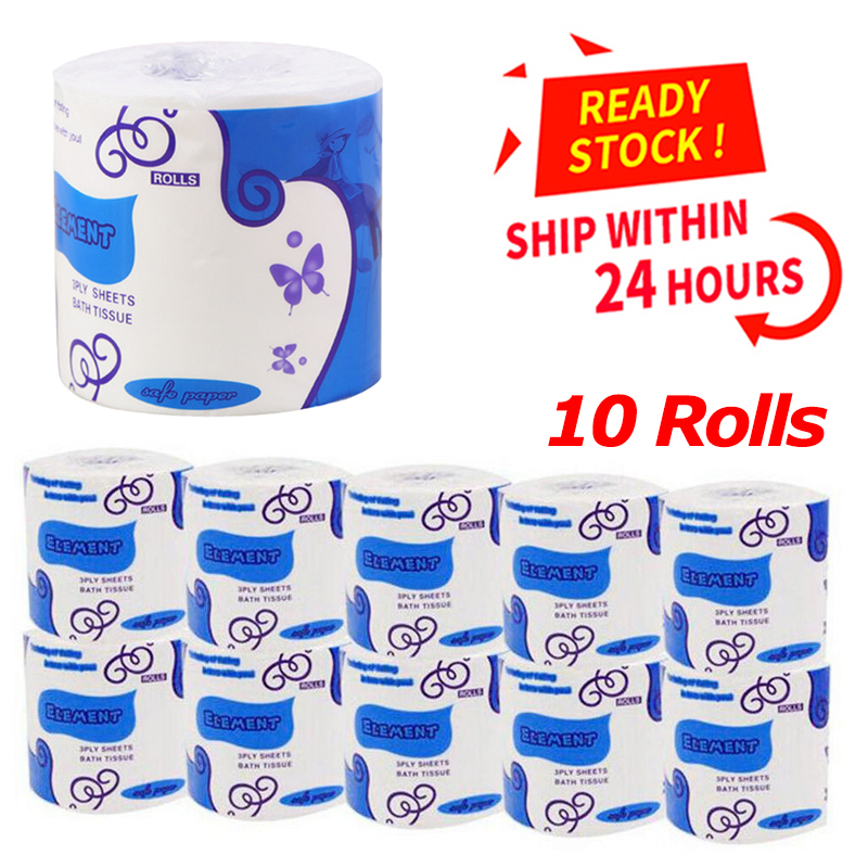 10 Rolls Of 3 Layers White Toilet Paper Individually Packaged Toilet Paper Kitchen Cleaning Fast Delivery Virgin Wood Pulp