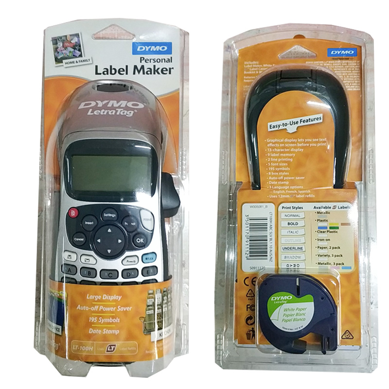 Dymo LetraTag LT-100H Handheld Label Maker Compatible For 12mm Letra Tag 91201 91200 12267 91202 Label Tapes 9V 2A Adapter