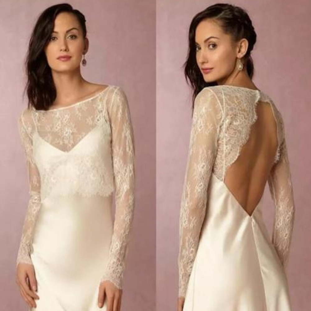 Sexy Backless White Ivory Wedding Jackets Scoop Neck Long Sleeve Lace Bridal Bolero Custom Made Open Back Jacket