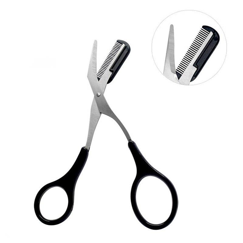 1pcs Eyebrow Trimmer Scissors  Comb Eyelash Hair Scissors Clips Shaping Eyebrow Razor Grooming Wenkbrauw Trimmer 5 Color