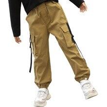 Kids Girls Pants 2019 Autumn Children Trousers Fashion Cotton Brown Overalls Patch Pocket Teen Cargo