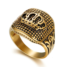 Loredana High-end Punk Style Ring Accessories Wholesale Retro Royal Exclusive Right Crown Sign  titanium Steel Ring For Men punk style titanium steel circle ring for men