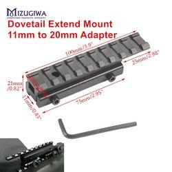 Alcance de cola de milano táctico, Soporte Extendido de 11mm a 20mm, adaptador de Picatinny ferroviario, montaje de Rifle, pistola, Caza, Airsoft