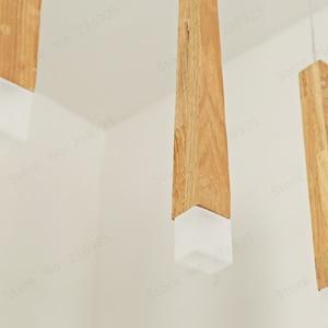 Image 4 - Lukloy 나무 펜던트 라이트 펜던트 램프 주방 매달려 램프 나무 교수형 조명 거실 현대 로비 조명 로프트 숍 램프