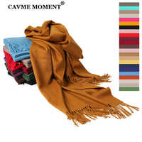 CAVME Luxury Cashmere Pashmina Scarf Winter Solid Color Scarves for Women Ladies Long Basic Scarf Wraps Shawls CUSTOM LETTERS