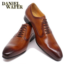 LUXURY BRAND MEN GENUINE LEATHER SHOES OFFICE WEDDING FORMAL SHOE BLACK BROWN HAND-POLISHED LACE UP POINTED TOE OXFORD MEN SHOES 2017 new brand spring autumn black brown genuine leather men s crocodile lace up pointed toe flat business casual wedding shoes
